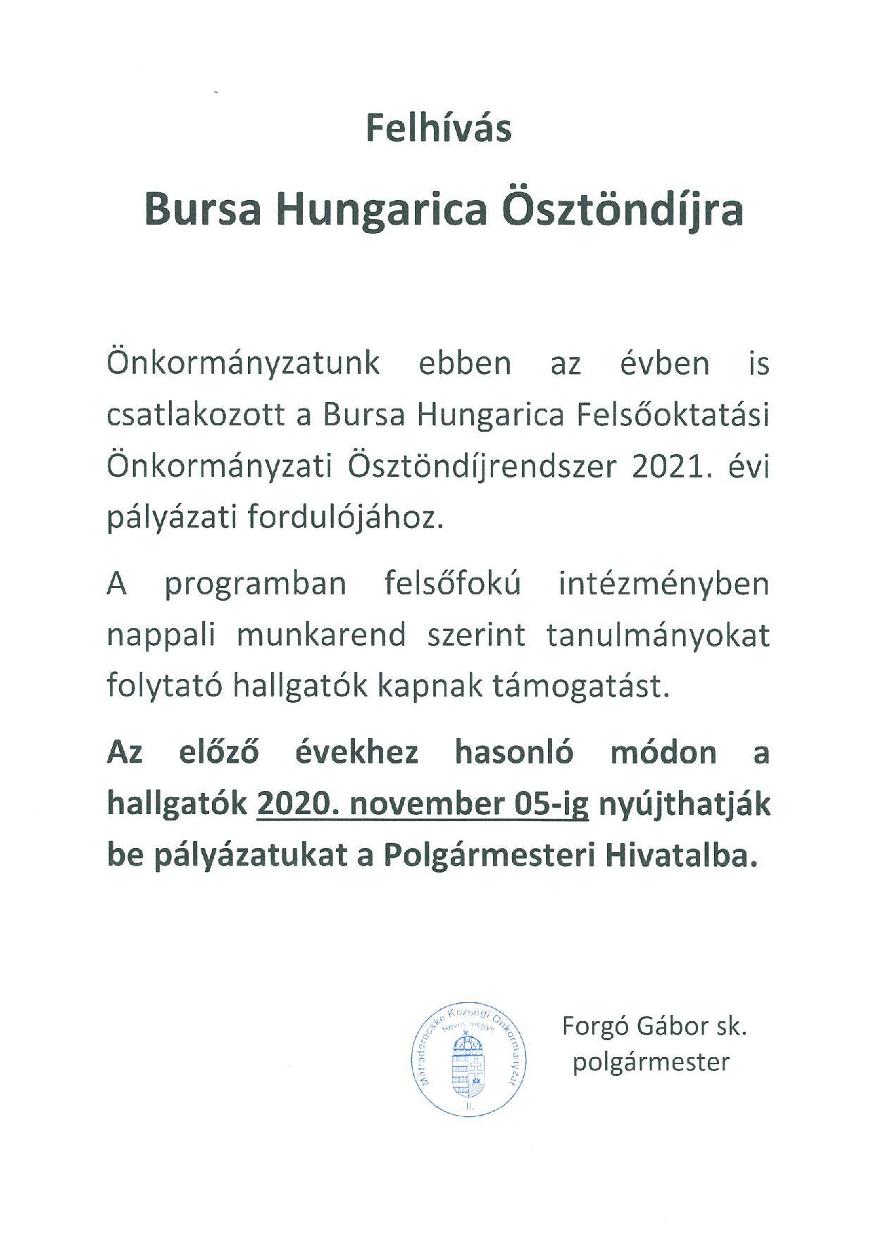 Bursa Hungarica ösztöndíj