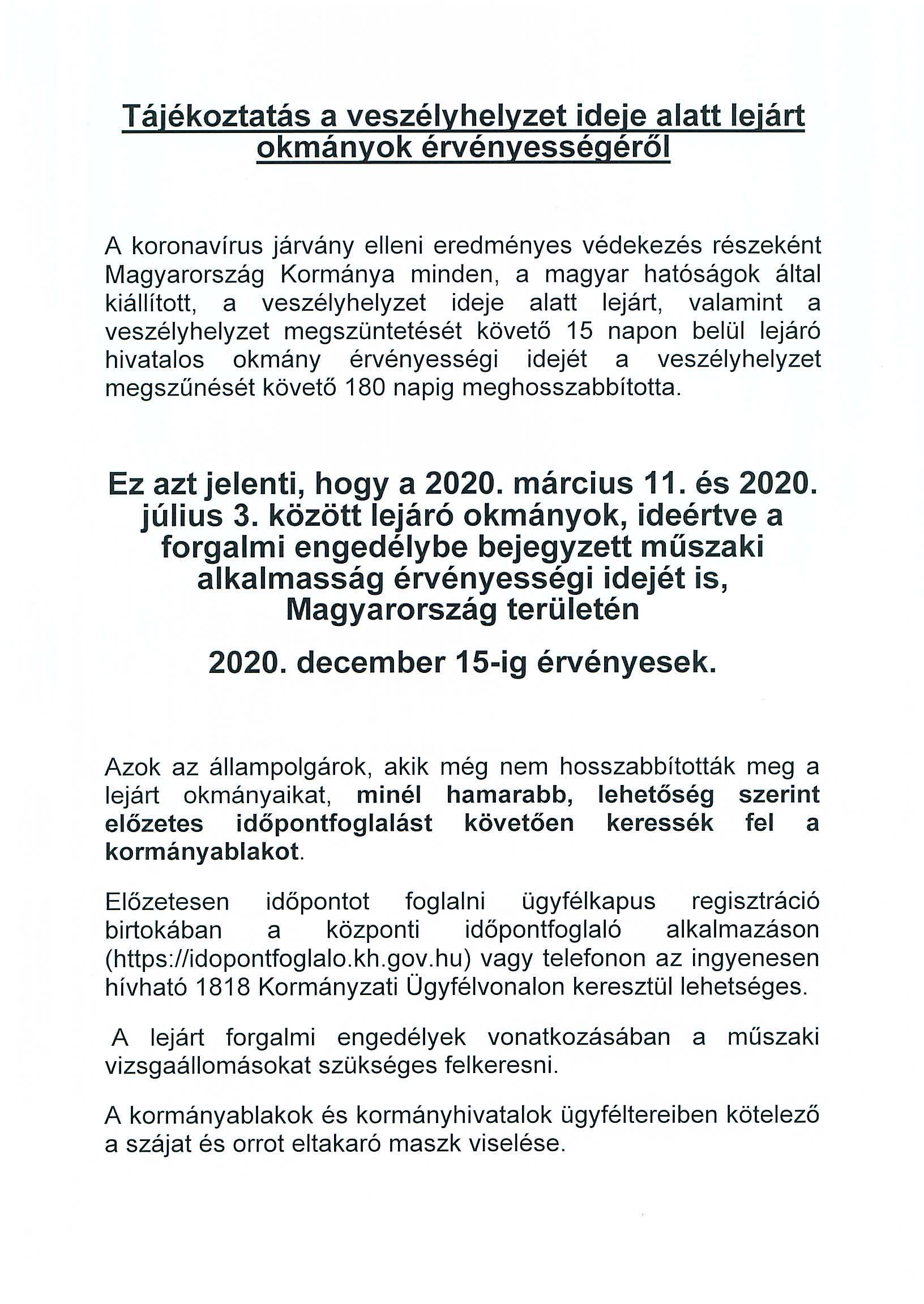 Kormányhivatali tájékoztató lejárt okmányok érvényességéről