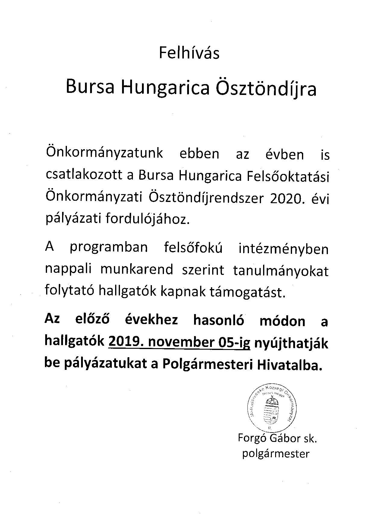 Bursa Hungarica ösztöndíj 2019