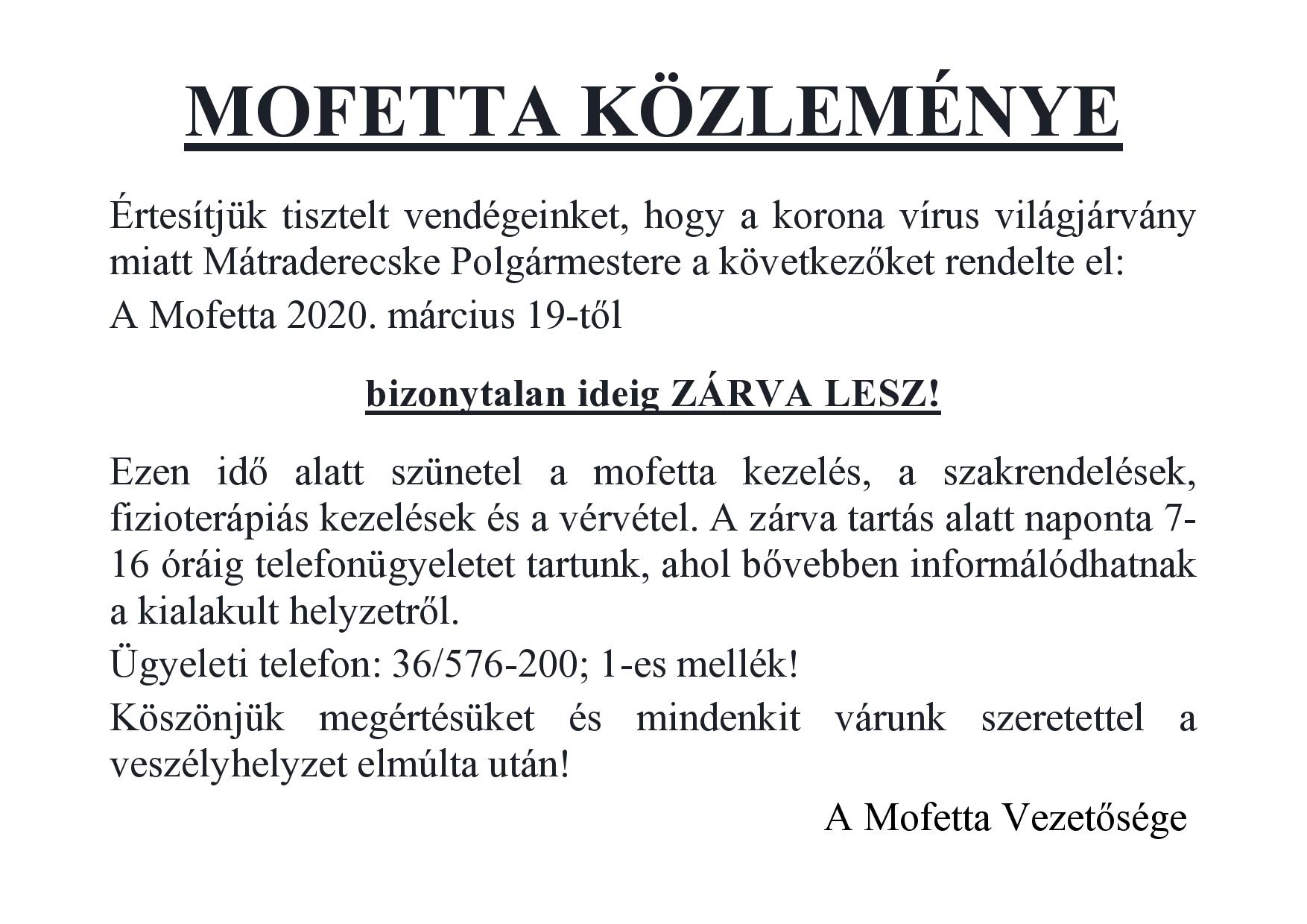 Értesítés a Mofetta bezárásáról