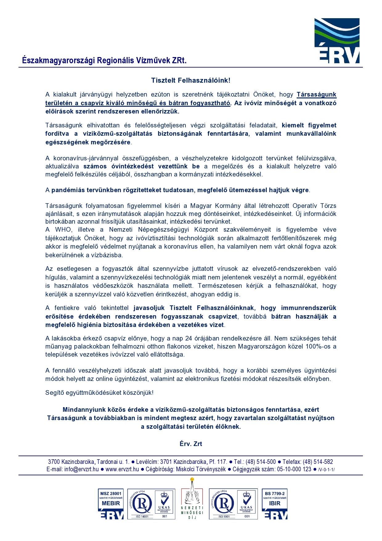 ÉRV Zrt. tájékoztatója