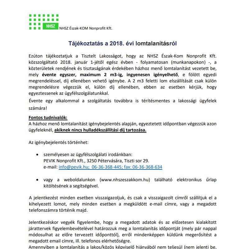 Tájékoztatás a 2018. évi lomtalanításról